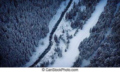 Aerial Above River In Frozen Wilder