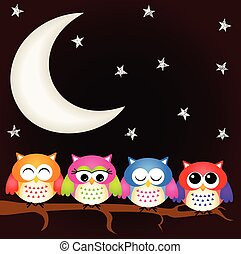 Owls good night - Scalable vectorial image representing a...