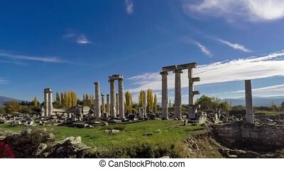 Ancient ruins of Aphrodisias, the Temple of Aphrodite with...