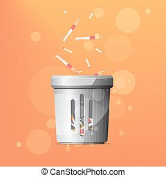 Dustbin for drugs and cigarettes on orange background. 10...