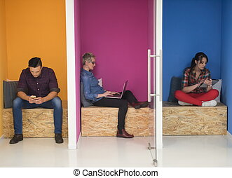 group of business people in creative working space - group...