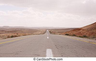asphalt road in desert Negev in israel
