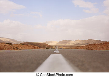 road in desert Negev in israel