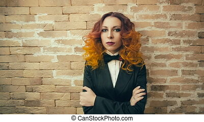 Portrait of Serious Redhead woman