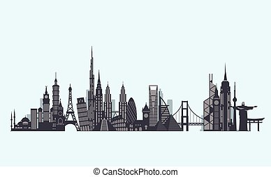 World landmarks silhouette. Travel and tourism background. -...