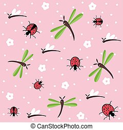 dragonflies and ladybugs pattern - dragonflies and ladybugs...