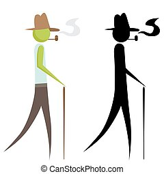 Man Using Walking Stick - An image of a man using a walking...