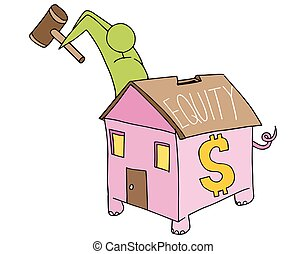 Breaking Home Equity Piggy Bank - An image of a man breaking...