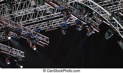 Stage light equipment in motion