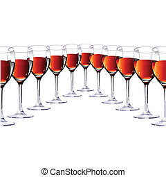 Eleven glasses with red wine. - Eleven glasses with red wine...