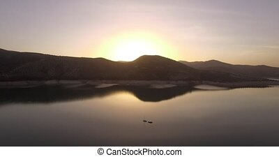 4K Aerial, Flight along a lake - Flight along the Embalse De...