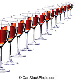 Thirteen glasses with red wine
