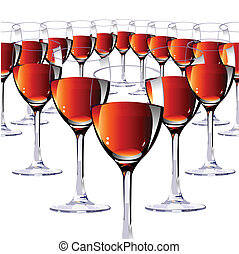 Sixteen glasses with red wine.