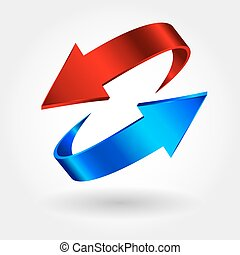Red and blue arrows are moving towards. Arrows sign isolated...