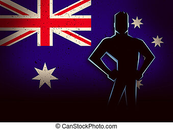 Silhouette Illustration of a Man Standing in Front of Australia Flag