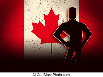Silhouette Illustration of a Man Standing in Front of Canada Flag
