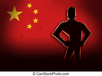 Silhouette Illustration of a Man Standing in Front of China Flag