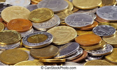 Many different coins collection background rotating, loop...