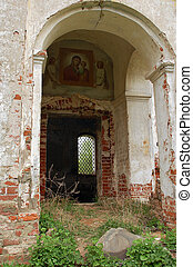 Piece of Abandoned Church in Central Russia - Entrance to...