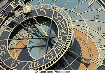 Timepiece - Public clock in a square in Prague, Czech...