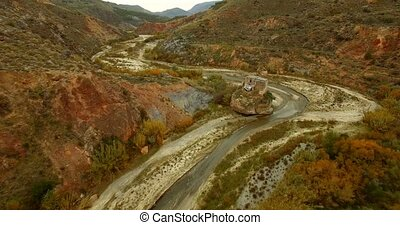 4K Aerial, Flight along a riverbed, Andalusia, Spain -...