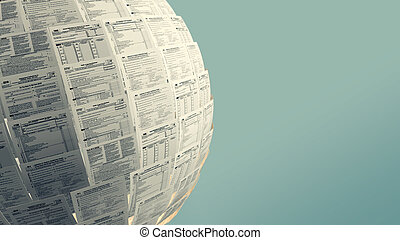 usa taxes concept - one sphere made with Usa tax forms with...