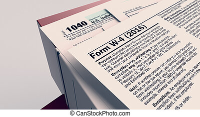 usa taxes concept - closeup view of a stack of office file...