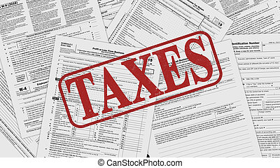 usa taxes concept - top view of forms for usa taxes, with...