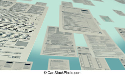 usa taxes concept - several usa tax forms flying 3d render