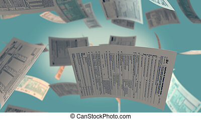 usa taxes concept - several Usa tax forms flying (3d render)