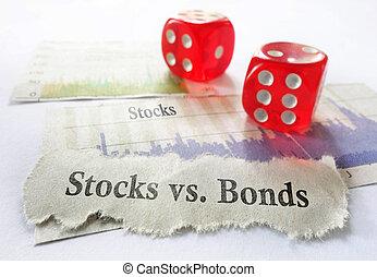 Stocks or Bonds - Stocks vs Bonds newspaper headline with...
