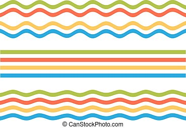 Set of 3 colorful stripes set - streight, wavy and bloated,...