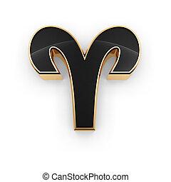 bélier, zodiaque, Symbole, icône