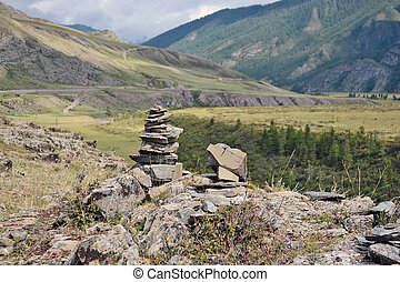 Mountain pastures and rocks, Altai mountains, Siberia, Russia