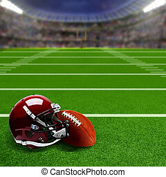 Football Stadium With Helmet and Ball and Copy Space -...