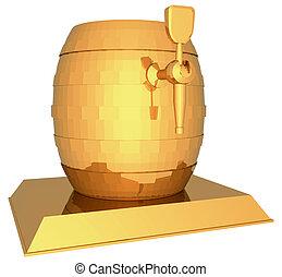 Golden beer keg