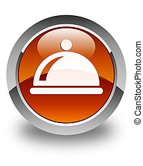 Food dish icon glossy brown round button