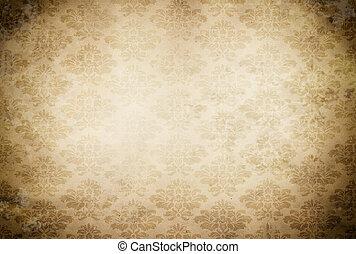 Årgång, papper, gammal, bakgrund, mönster