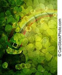 shamrock, folhas, fundo, com, pote, de, Ouro,...