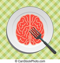 Brain food on plate with fork