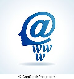 human brain with creative e-mail icon