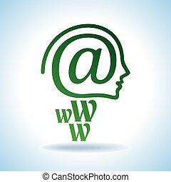 human brain with creative e-mail icon