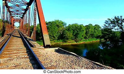 Railroad Bridge in Illinois - Rusty railroad bridge over the...