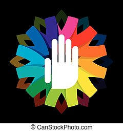 spiritual hand on colorful