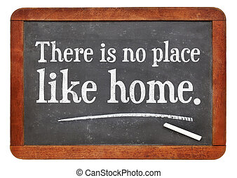 There is no place like home proverb white chalk text on a...