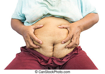 asian old fat woman grasp her abdomen surgical scar at lower...
