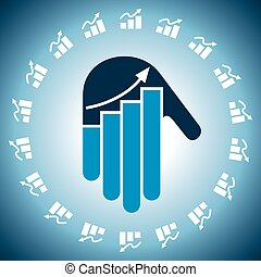 Business chart in hand icon