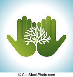 Eco friendly tree in hands