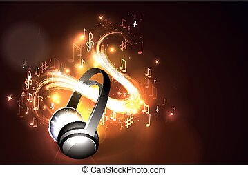 Abstract music background headphones and glowing waves,...