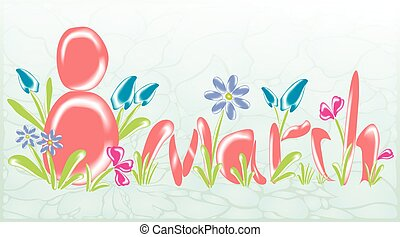 Abstract greeting card on March 8 with glass flowers. EPS10 vector illustration